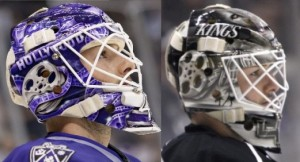 Bernier's mask with Hollywood sign last year (left) and taped over last night (right) - photos: M. Zampelli