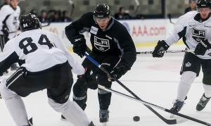 Michael Schumacher skates in on Derek Forbort at LA Kings 2012 Development Camp
