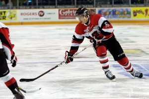 Tyler Toffoli en route to scoring his final OHL goal (photo by: Valerie Wutti)