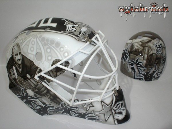 JF Berube 2013 goalie mask Kings MayorsManor
