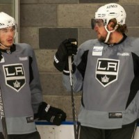Brown Kopitar Kings practice
