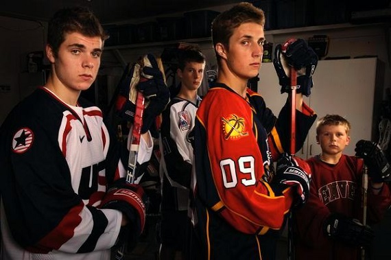 The Shore brothers, including Nick (far left) and Drew (09 jersey), from Denver Post in 2011