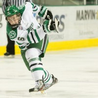 Paul LaDue (North Dakota-6) 14 MARCH.14: University of North Dakota hosts the Colorado College Tigers in a NCHC playoff match-up at the Ralph Engelsted Arena in Grand Forks, North Dakota